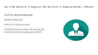 Top 10 Eye Specialist in Bangalore, Best Eye Doctor in Bangalore,Reviews | 365Doctor