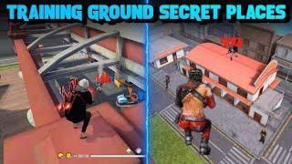 TOP 10 HIDDEN PLACES IN TRAINING GROUND FREE FIRE | CLIMB BIG HOUSE IN TRAINING - BROKEN JOYSTICK