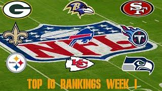 Top 10 NFL Power Rankings: Week 1
