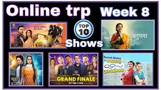 Online trp. Week 8. Top 10 Indian shows /serials. TVpro Indian. Online trp of this week.
