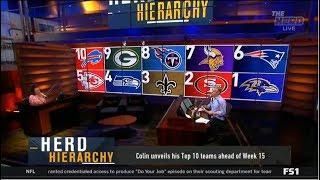THE HERD | Colin unveils his Top 10 teams ahead of Week 15: 1. Ravens 2. 49ers 3. Saints