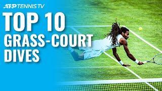 Top 10 Amazing ATP Grass Court Tennis Dives!
