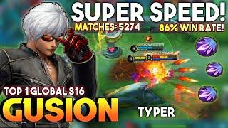 Super Fast Hand | Top 1 Global Gusion S16 | Gusion Gameplay BY Typer | Mobile Legends✓