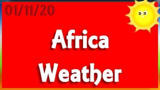 Africa Weather - Morning 01/11/20 - Windy and dry morning with light rains in DRC and South Africa