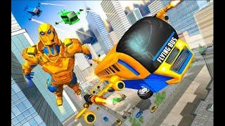New Flying Bus Robot Transform War | Amazing Robot Hero Android GamePlay | By Game Crazy