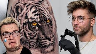 REALISTIC TIGER TATTOO TIME LAPSE | feat MINI LADD