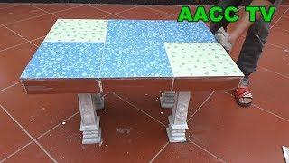 Technical Construction Innovation Ideas Make Table From Cement And Ceramic Tiles