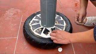 Great idea Home-made coffee table - Made from tire and Ceramic tiles - Creative cement ideas for you