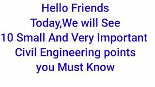 ###Civil Engineering Basic Knowledge/Top 10 Small point for Civil Engineering must know##Ntfon Tv#