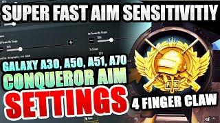 TOP BEST SENSITIVITY SETTINGS & CONTROL | GRAPHICS 60FPS | GALAXY A30 A50 A51 A70 | PUBG MOBILE
