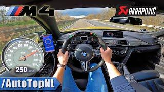 BMW M4 AKRAPOVIC & LED M PERFORMANCE Steering Wheel   TOP SPEED on AUTOBAHN by AutoTopNL