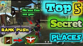 Top 5 Secret Places In Free Fire | Top Hidden Place | Rank Push Tips And tricks | FhAmEy |2021 Hindi