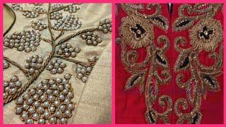 Top10! Designer latest Gorgeous Pearl Work on Net And Chiffon Dresses/Embroidered borders and laces