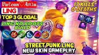 Street Punk Ling New Skin Gameplay, 17 Kills 0 Deaths [ Top Global Ling ] Vuℓcan♡Aяנu Mobile Legends
