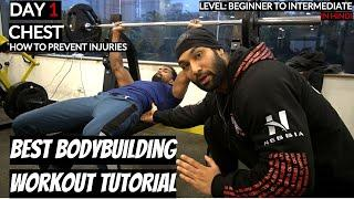 DAY ONE | Best Bodybuilding Workout Tutorial | Chest (Hindi)