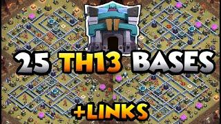 TOP 25 TOWN HALL 13 WAR BASES OF 2020 WITH LINKS - COC BEST TH13 BASE WITH LINK - TH13 WAR CWL BASE