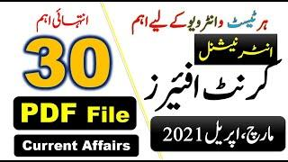 Top Current Affairs 2021 || PakMcqs International Current Affairs Month of March, April 2021 PDF