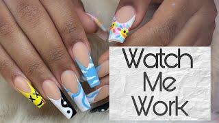 Watch Me Work: Acrylic Fill + Fun Nail Art Tutorial | Gel Paint Nail Art