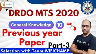 10:30 PM - DRDO MTS 2020 | GK by Rohit Baba Sir | Previous Year Paper (Part-3)