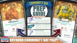 START NOW! TOP TIPS FOR SHINY *RHYHORN* COMMUNITY DAY PREP - 3X STARDUST & RHYPERIOR   POKÉMON GO