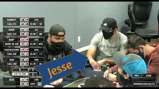 Rounders LIVE! - Hand of the Night! Jesse flops bottom two versus top-top; its all in by the river!