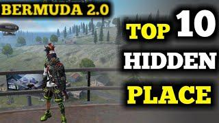 TOP 10 NEW HIDDEN PLACE  IN BERMUDA  REMASTERED | free fire Secret hidden  place in Bermuda map