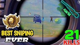 This Will Be The Best Sniping Gameplay You Will Ever See in PUBG Mobile | 21 Kills | PUBGM Hindi