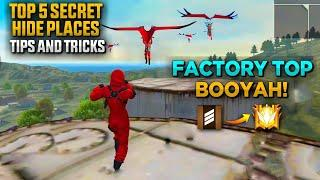 தரமான FACTORY TOP BOOYAH!! Free Fire TOP Waste SECRET Hide Place Tips & Tricks -Garena Free Fire