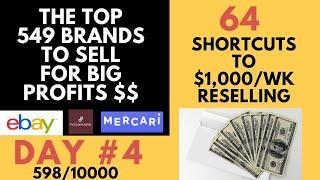 Day 4: My Best 64 Tips For Slow Sales & The Top 549 Brands To Sell on eBay & Poshmark.