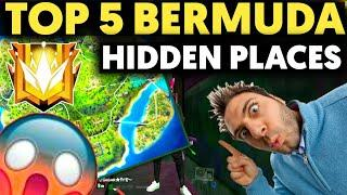 HIDDEN PLACE IN FREE FIRE!TOP 5 HIDE PLACE IN BERMUDA MAP!RANK PUSH TIPS & TRICKS#fourgamingzone