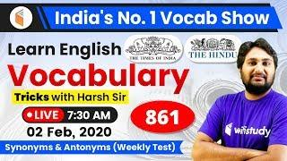 8:40 AM - English Vocabulary | Learn English Vocabulary Tricks with Harsh Sir | Day #861