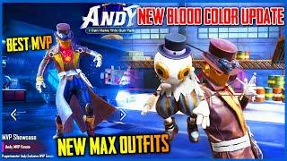 NEW RED BLOOD COLOR CHANGE UPDATE | SEASON 13 NEW ANDY MAX OUTFIT AND MVP - PUBG MOBILE