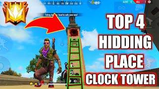 TOP 4 HIDDING PLACE ON CLOCK TOWER IN FREE FIRE // RANK PUSHING SECRECT HIDDEN PLACE ON CLOCK TOWER
