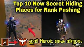 Top 10 New Secret Hiding Places for Rank Pushing in Free Fire | Free Fire Hidding Places Malayalam