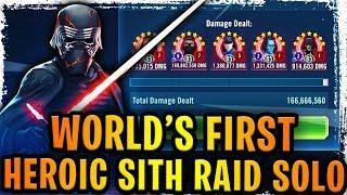 WORLD'S FIRST HEROIC SITH RAID SOLO TEAM! Best Raid Team! Supreme Leader Kylo Ren is a Raid Boss!