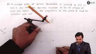 Problem 1 Based on Circular Plate - Projection of Planes  - Engineering Drawings