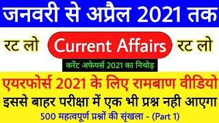 Top 500 Current Affairs For Airforce Y Group Exam 2021