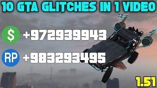 10 GTA Glitches In 1 Video - Easy SOLO Best GTA 5 Online Glitches 1.51!