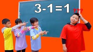 Learn Math with Five Little (③ - ① = ↿ ) ✅  Best Test Math and Numbers for School Exam HCN Go School