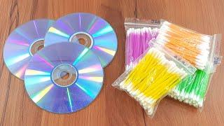 Recycling cd disc & Cotton buds crafting | Waste material reuse idea | Diy Craft