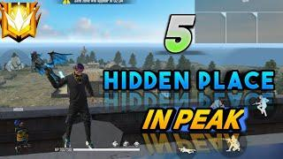 PEAK HIDDEN PLACE IN FREE FIRE ! TOP 5 HIDE PLACE IN BERMUDA MAP ! RANK PUSH TIPS  AND TRICKS