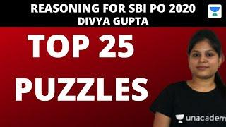 Top 25 Puzzles for SBI PO by Divya Gupta