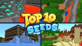 TOP 10 BEST NEW SEEDS For Minecraft Bedrock Edition! (Pocket Edition, Xbox, PS4, Switch & W10)