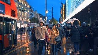 Rainy London Night Walk from Oxford Circus to Blackfriars Station (Binaural City Sounds)