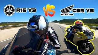 HONDA CBR v2 vs YAMAHA R15 v3   TOP END RACE