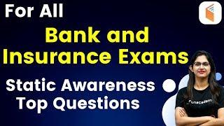 For All Bank and Insurance | Static Awareness Top Questions by Sushmita Ma'am