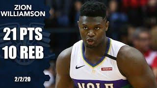 Zion Williamson drops double-double in Pelicans vs. Rockets matchup | 2019-20 NBA Highlights