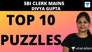 Top 10 Mains Level Puzzles for SBI CLERK MAINS 2020 (Part-1) by Divya Gupta