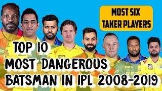 Top 10 dangerous players with most sixes in ipl history 2008 - 2019