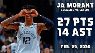 Ja Morant goes CRAZY! Nets 27pts & 14ast in 11th double-double vs Lakers Highlights | Feb. 29, 2020